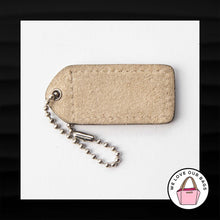 "Load image into Gallery viewer, 2"" Medium COACH BONE WHITE SUEDE LEATHER KEY FOB BAG CHARM KEYCHAIN HANGTAG TAG"