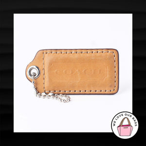 "2.5"" Large COACH TAN LEATHER KEY FOB BAG CHARM KEYCHAIN HANGTAG TAG"
