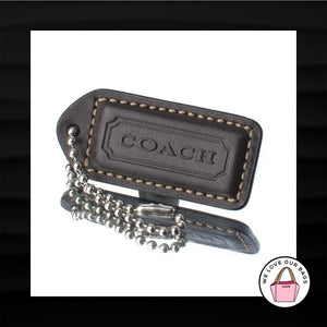 2″ Medium COACH DARK BROWN LEATHER KEY FOB BAG CHARM KEYCHAIN HANGTAG TAG