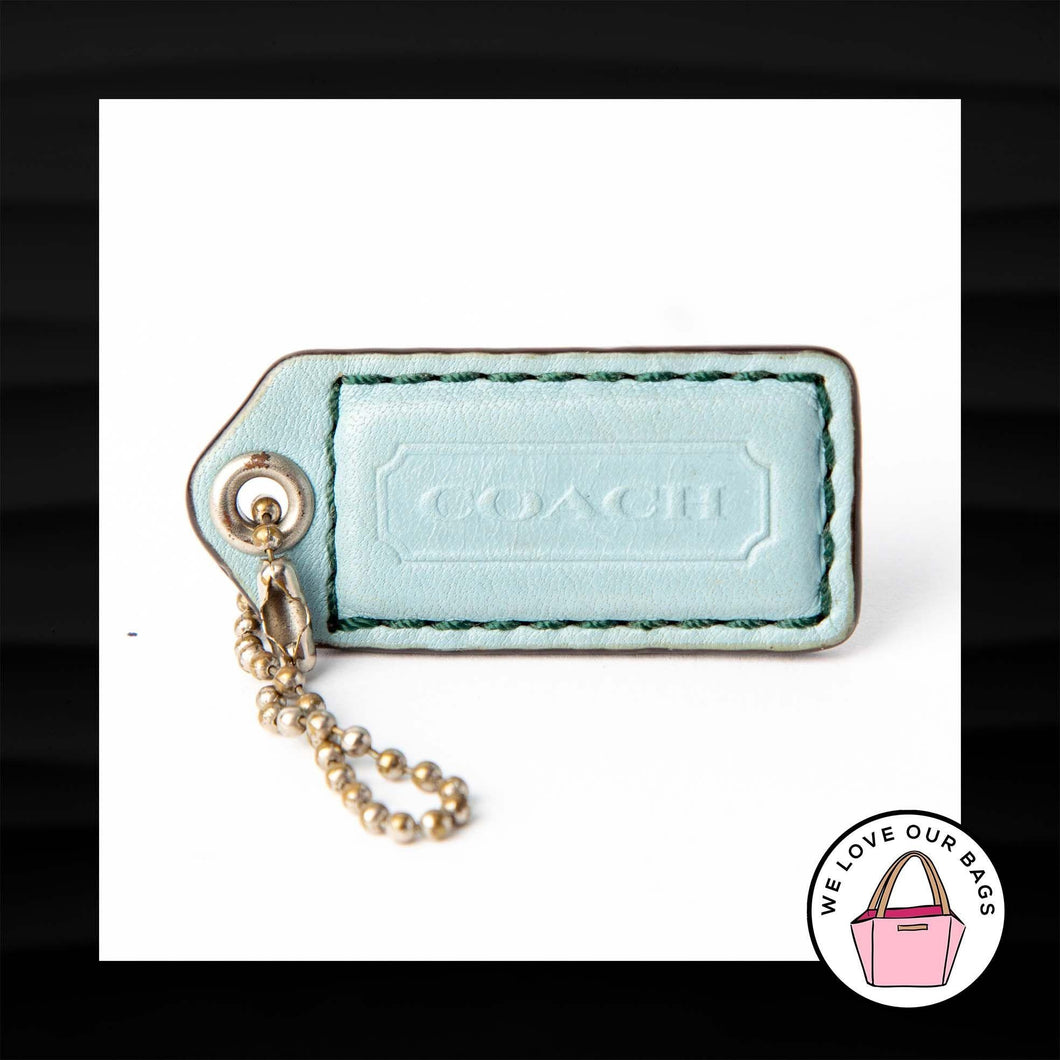 2″ Medium COACH LIGHT BLUE LEATHER KEY FOB BAG CHARM KEYCHAIN HANGTAG TAG