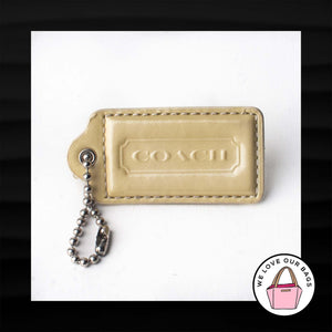 "2.5"" Large COACH LIGHT YELLOW PATENT LEATHER KEY FOB BAG CHARM KEYCHAIN HANG TAG"