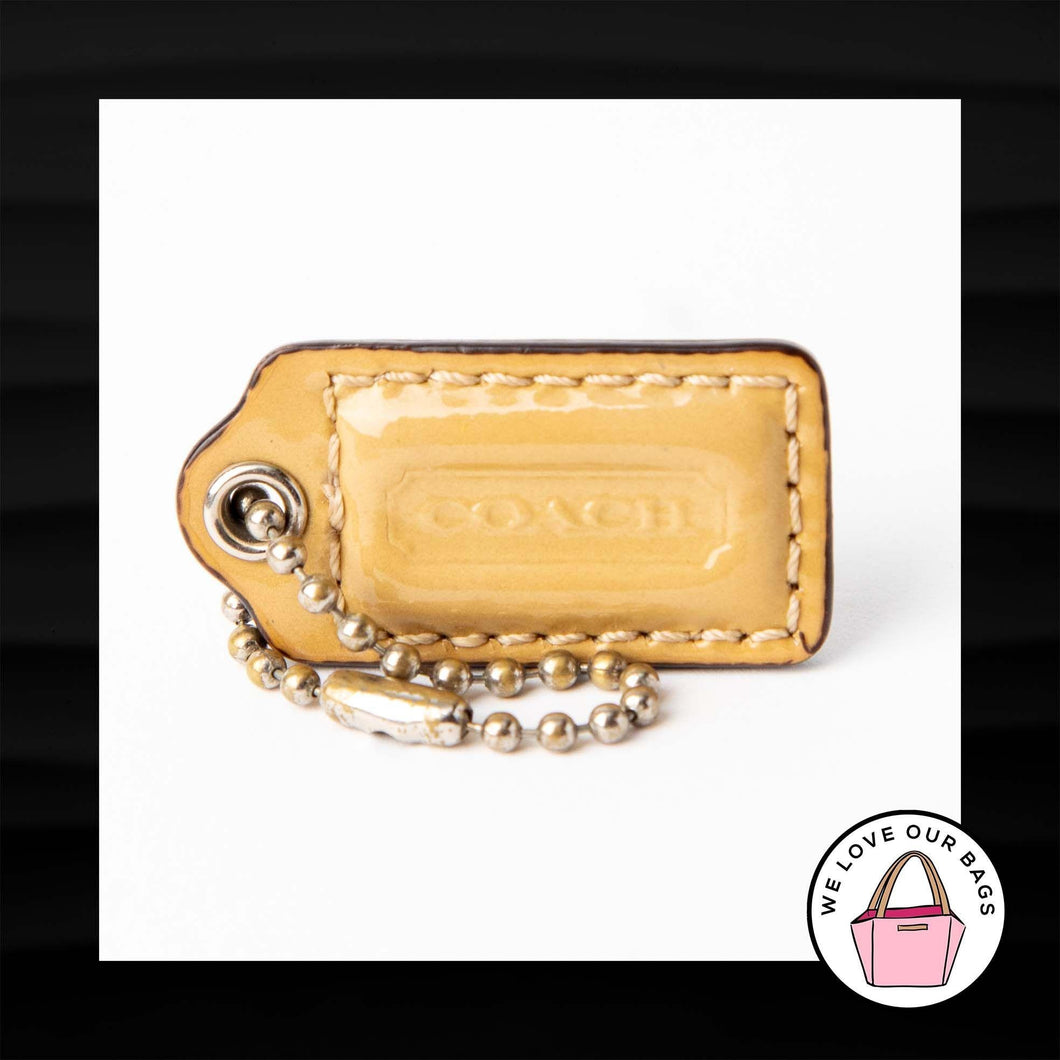 1.5″ Small COACH TAN PATENT LEATHER KEY FOB CHARM KEYCHAIN HANG TAG WRISTLET