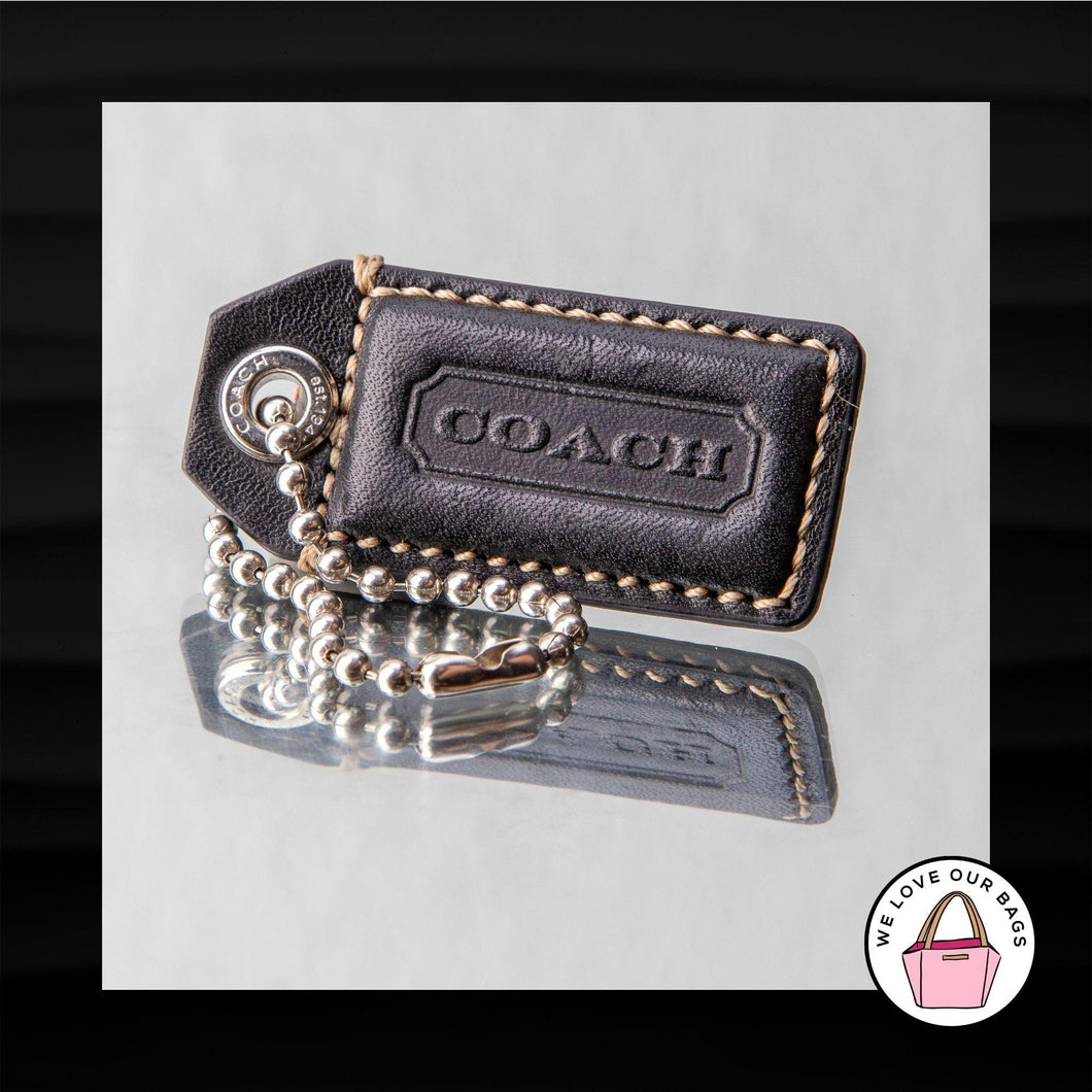RARE 2.25″ Medium COACH EMBOSSED RIVET BLACK LEATHER KEY FOB CHARM KEYCHAIN TAG