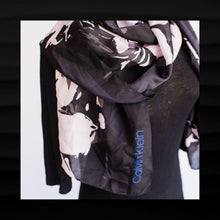 Load image into Gallery viewer, NEW! NWT $40 CALVIN KLEIN BLACK WITH PINK FLORAL WRAP SHAWL SCARF 72 x 24