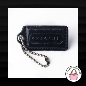"2.5"" Large COACH BLACK PATENT LEATHER KEY FOB BAG CHARM KEYCHAIN HANGTAG TAG"