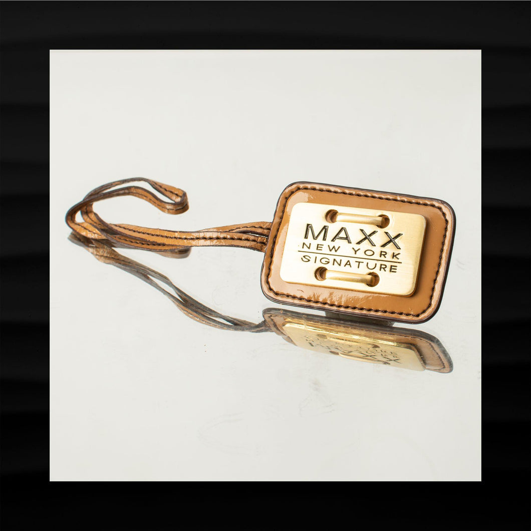 MAXX NEW YORK GOLD BRASS ON TAN PATENT LEATHER LOOP KEY FOB CHARM KEYCHAIN TAG
