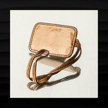 Load image into Gallery viewer, MAXX NEW YORK GOLD BRASS ON TAN PATENT LEATHER LOOP KEY FOB CHARM KEYCHAIN TAG