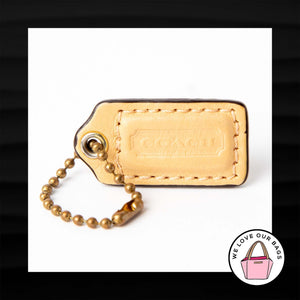 1.5″ Small COACH CREAMY YELLOW LEATHER KEY FOB CHARM KEYCHAIN HANG TAG WRISTLET