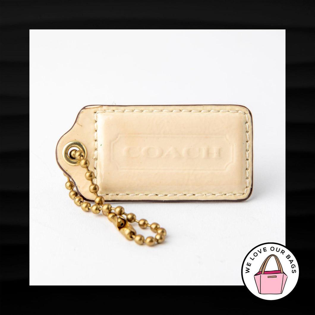 2.5″ Large COACH CREAM PATENT LEATHER KEY FOB BAG CHARM KEYCHAIN HANGTAG TAG