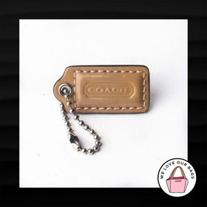 "1.5"" Small COACH TAN PATENT LEATHER KEY FOB CHARM KEYCHAIN HANG TAG WRISTLET"