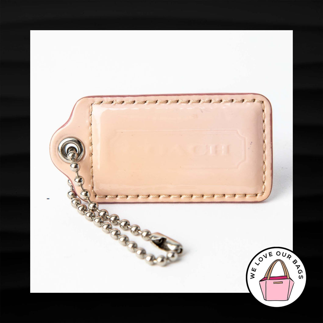 2.5″ Large COACH NUDE FLESH PATENT LEATHER KEY FOB BAG CHARM KEYCHAIN HANG TAG