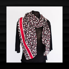 Load image into Gallery viewer, NEW! NWT $40 CALVIN KLEIN BLACK WITH RED WHITE FLOWERS WRAP SHAWL SCARF 72 x 24