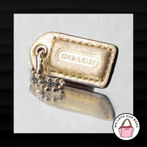 1.5″ Small COACH GOLD METALLIC LEATHER KEY FOB CHARM KEYCHAIN HANG TAG WRISTLET