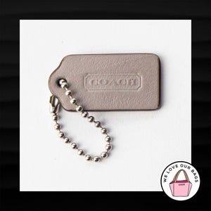 "1.5"" Small COACH GRAY TAUPE LEATHER KEY FOB CHARM KEYCHAIN HANG TAG WRISTLET"