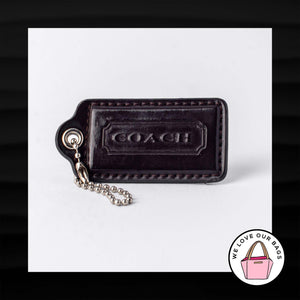 "2.5"" Large COACH BROWN PATENT LEATHER KEY FOB BAG CHARM KEYCHAIN HANGTAG TAG"