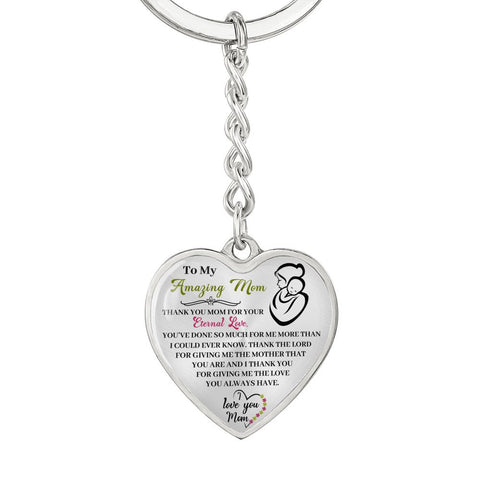 Mom keychain | Mom Heart Keychain | Mom Gift | Thank You for Your Eternal Love | Heart Pendant Engraved Keychain