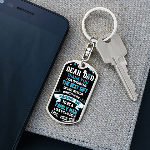 Dad Gift Keychain from Son | Best Gift | Dog Tag Style Keychain with Engraving | Gift Keychain