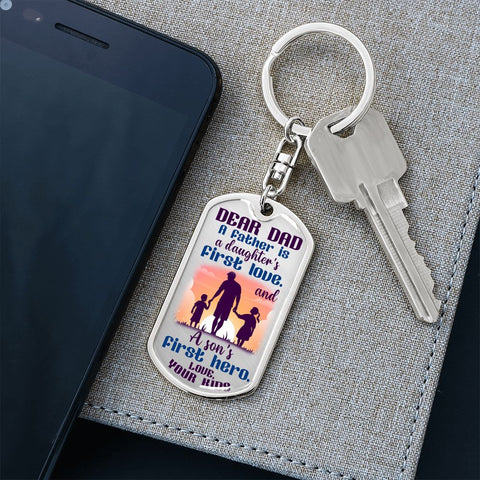 Dad Gift Keychain from Kids | Dad Hero | Dog Tag Style Keychain with Engraving | Gift Keychain