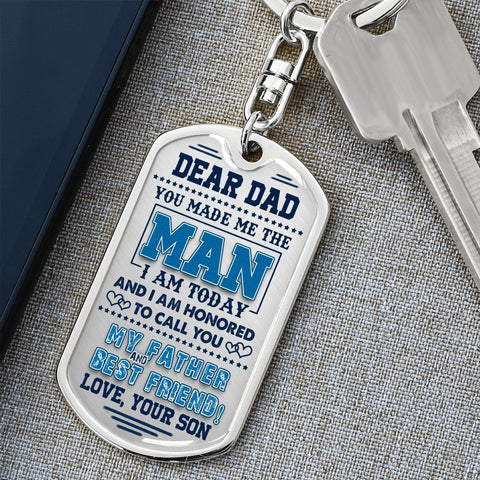 Dad Gift Keychain from Son | Best Friend | Dog Tag Style Keychain with Engraving | Gift Keychain