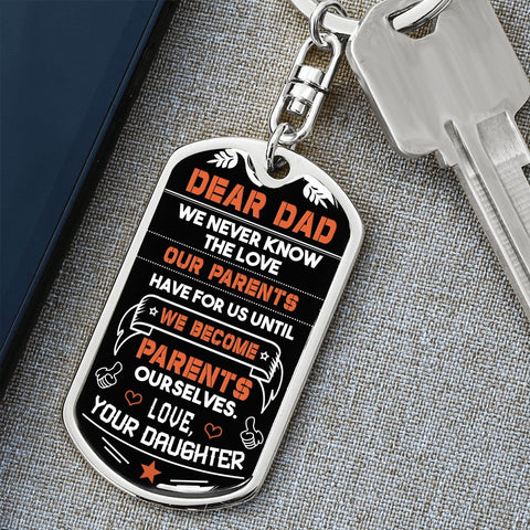 Dad Gift Keychain from Daughter | Parents | Dog Tag Style Keychain with Engraving | Gift Keychain