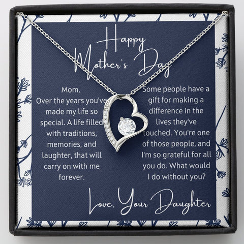 Mother's Day Gift from Daughter - What would I do- Polished Heart Pendant Gift Necklace with Message Card