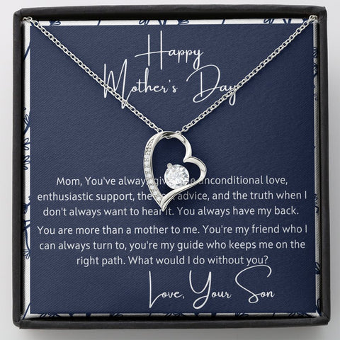 Mother's Day Gift from Son - Unconditional Love -  Polished Heart Pendant Gift Necklace with Message Card