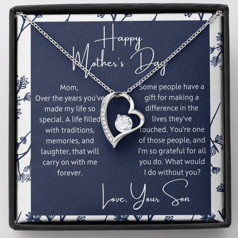 Mother's Day Gift from Son - What Would I do? Polished Heart Pendant Gift Necklace with Message Card