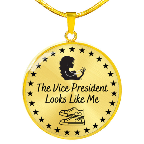 The Vice President Looks Like Me Gift Necklace | Kamala Harris Inspired Message Necklace | Circle Pendant Necklace