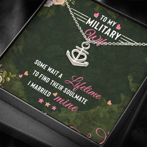 Wife Necklace - Necklace for Wife - Gift Necklace with Message Card To my Military Wife - Green - You Are My Anchor Necklace