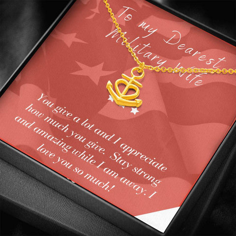 Gift Necklace with Message Card Wife Deployment Patriotic You Are My Anchor Necklace