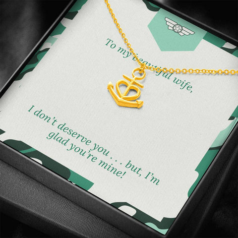 Gift Necklace with Message Card Wife Green  Patriotic You Are My Anchor Necklace