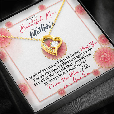 Mother's Day Gift | To Mom from Son Necklace | Thank You |  Polished Heart Pendant | Gold Option Available | Gift Necklace with Message Card