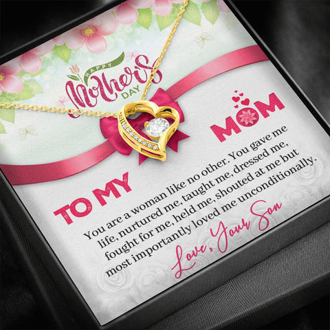 Mother's Day Gift | To Mom from Son Necklace | No Other | Polished Heart Pendant | Gold Option Available | Gift Necklace with Message Card