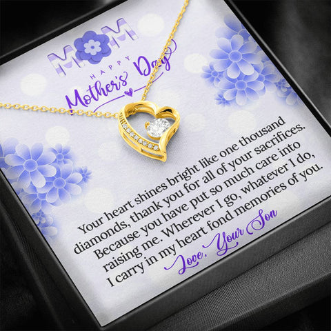 Mother's Day Gift | To Mom from Son | Polished Heart Pendant | Gold Option Available | Gift Necklace with Message Card
