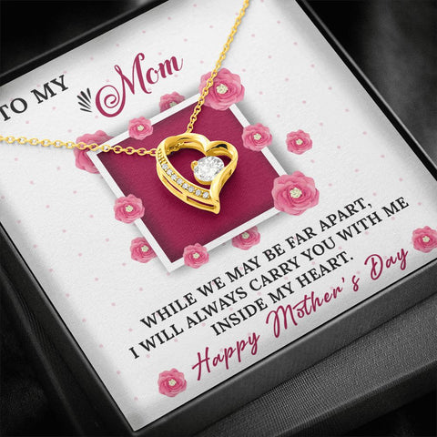 Mother's Day Gift | Mom Necklace | Apart | Polished Heart Pendant | Gold Option Available | Gift Necklace with Message Card