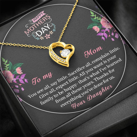 Mother's Day Gift | To Mom from Daughter Necklace | Done for Us |  Polished Heart Pendant | Gold Option Available | Gift Necklace with Message Card