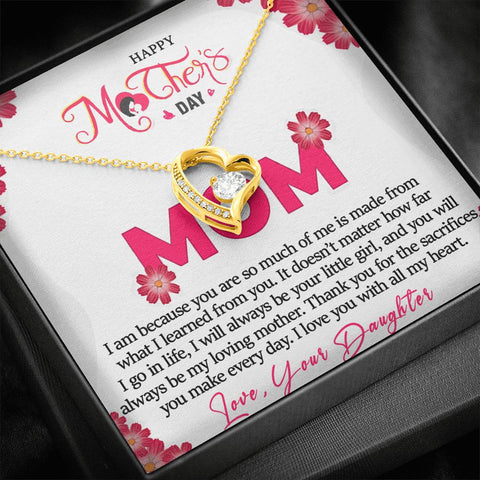 Mother's Day Gift | To Mom from Daughter Necklace | Learned From You |  Polished Heart Pendant | Gold Option Available | Gift Necklace with Message Card
