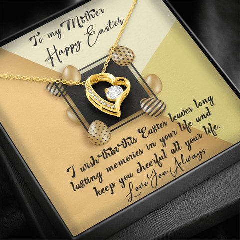 Easter Gift to Mom | Mom Necklace | Easter Memories |  Polished Heart Pendant | Gold Option Available | Gift Necklace with Message Card