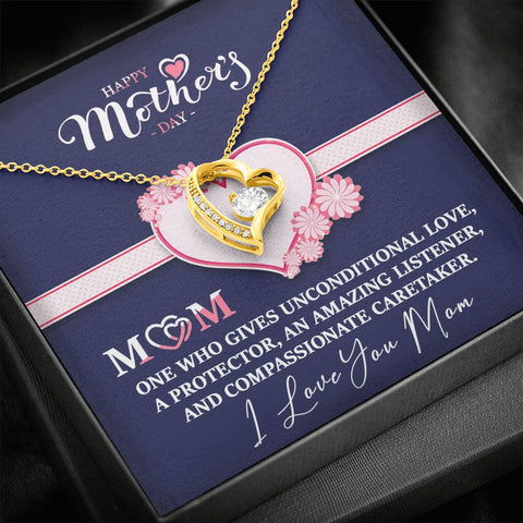 Mother's Day Gift | Mom Necklace | Unconditional Love |  Polished Heart Pendant | Gold Option Available | Gift Necklace with Message Card