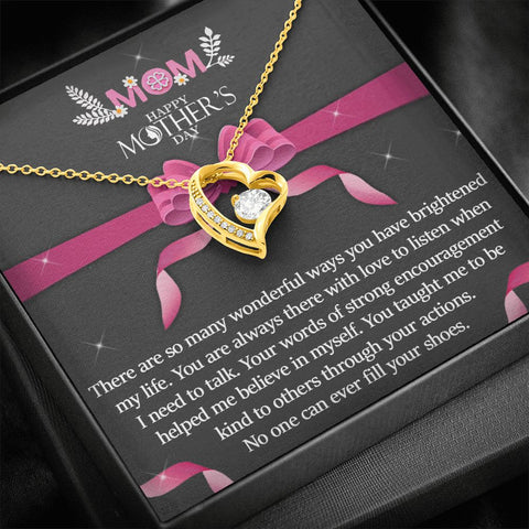 Mother's Day Necklace | Gift to Mom | Wonderful Ways |  Polished Heart Pendant | Gold Option Available | Gift Necklace with Message Card