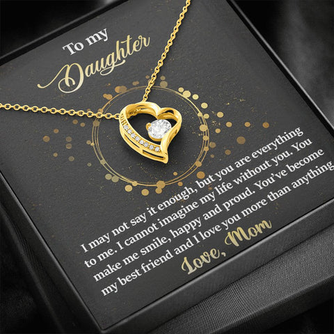 To Daughter from Mom | Everything to Me |  Polished Heart Pendant | Gold Option Available | Gift Necklace with Message Card