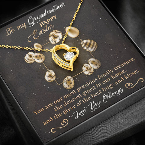 Easter Gift to Grandmother | Polished Heart Pendant | Gold Option Available | Gift Necklace with Message Card