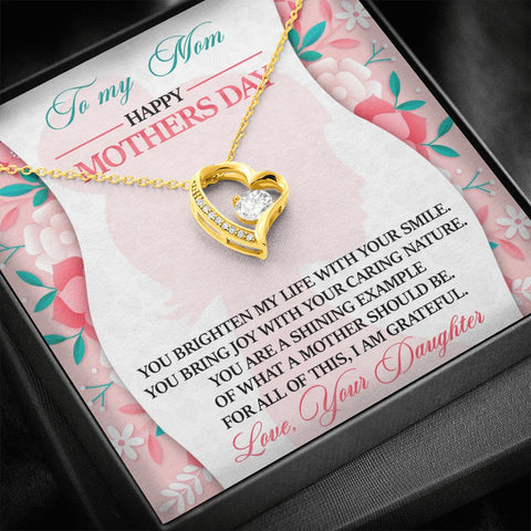 Mother's Day Gift | To Mom from Daughter Necklace | You Brighten | Polished Heart Pendant | Gold Option Available | Gift Necklace with Message Card