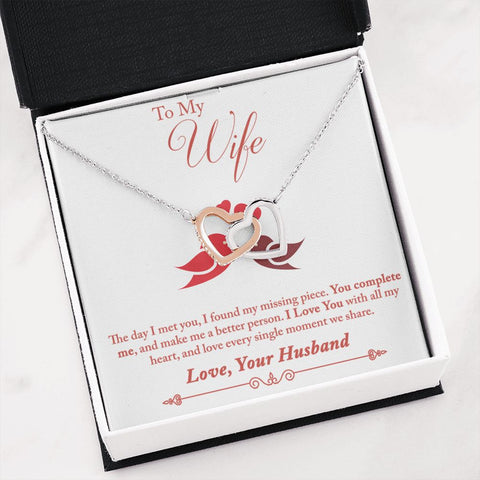 Gift to Wife | Wife Necklace | Complete Me | Interlocking Hearts Necklace | Gift Necklace with Message Card