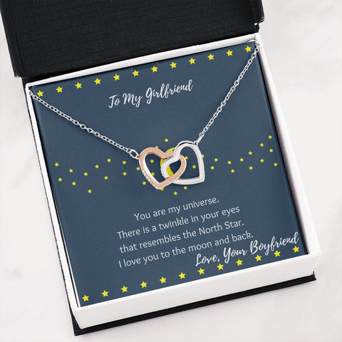 Moon and Stars Girlfriend Gift | Girlfriend Necklace | Interlocking Hearts Necklace | Gift Necklace with Message Card