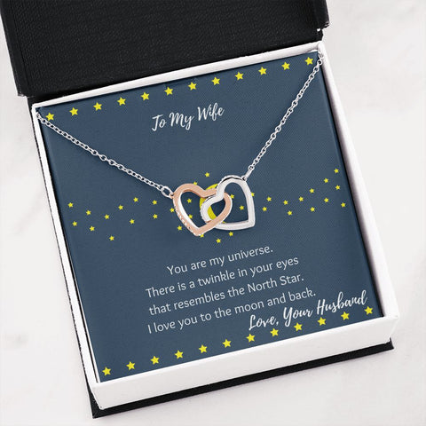Moon and Stars Wife Gift | Wife Necklace | Interlocking Hearts Necklace | Gift Necklace with Message Card