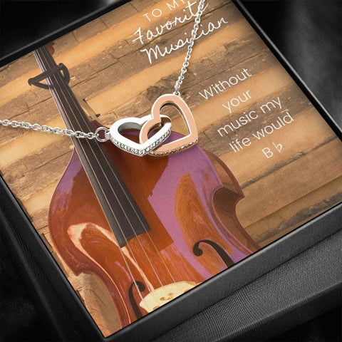 Musician Upright Bass Interlocking Hearts Necklace