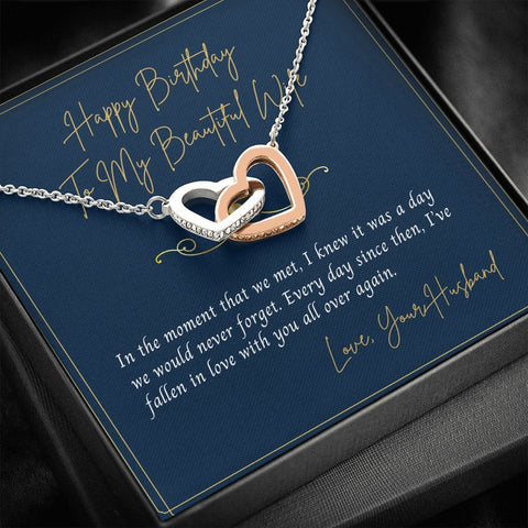 Birthday Gift to Wife -Wife Necklace - Necklace for Wife - Gift Necklace with Message Card - To My Wife Happy Birthday -  Blue and Gold - Interlocking Hearts Necklace