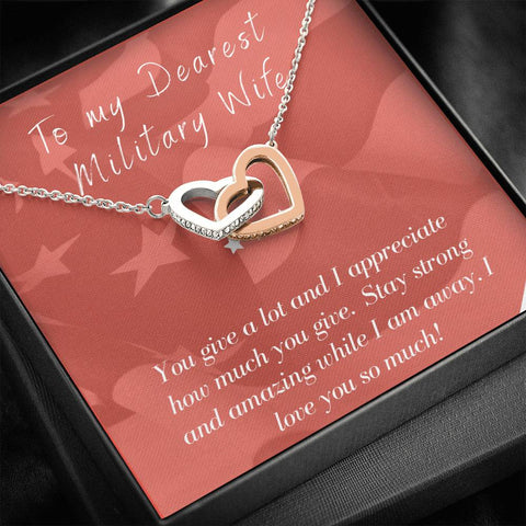 Gift Necklace with Message Card Wife Deployment Patriotic Interlocking Hearts Necklace