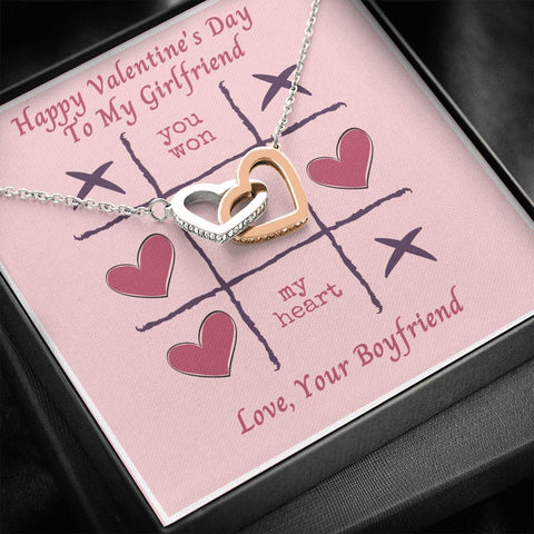 Girlfriend Necklace - Gift to Girlfriend - Gift Necklace with Message Card - To My Girlfriend Tic Tac Toe Happy Valentine's Day - Interlocking Hearts Necklace